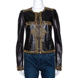 Just Cavalli Black Embossed Leather Studded Zip Front Jacket S
