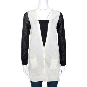 Just Cavalli Bicolor Wool Knit Button Front Cardigan M