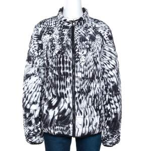 Just Cavalli Monochrome Printed Quilted Reversible Jacket L