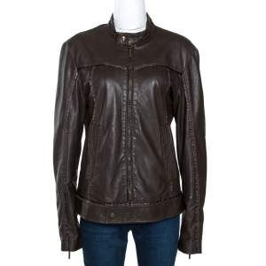 Just Cavalli Brown Nappa Leather Zip Front Jacket S