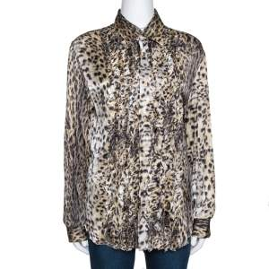 Just Cavalli Beige Animal Print Silk Ruffle Front Long Sleeve Shirt L