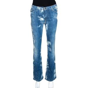 Just Cavalli Blue Acid Washed & Distressed Denim Straight Fit Jeans S