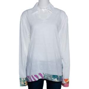 Just Cavalli White Textured Cotton Printed Trim Tunic Top M