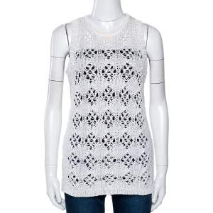 Just Cavalli White Cotton Open Crochet Knit Sleeveless Top M