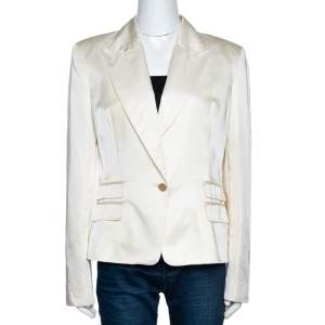 Just Cavalli Cream Satin Single Buttoned Blazer L