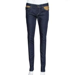 Just Cavalli Navy Blue Denim Embellished Pocket Detail Jeans S