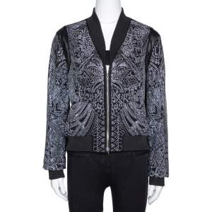 Just Cavalli Black Crepe Embellished Bomber Jacket M