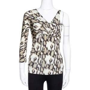 Just Cavalli Khaki Snake Print Jersey Draped Asymmetrical Top M