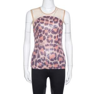 Just Cavalli Multicolor Leopard Pattern Sequin Embellished Sleeveless Top S