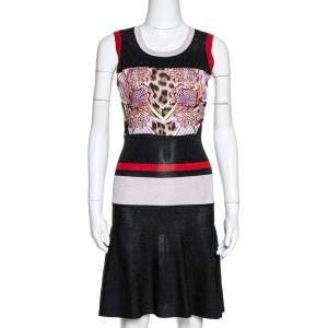 Just Cavalli Colorblock Lurex Knit & Printed Satin Panel Fit and Flare Dress S