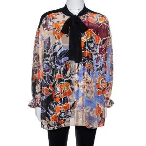 Just Cavalli Multicolor Floral Print Cotton & Silk Oversized Blouse S