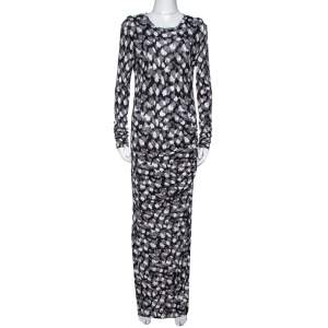 Just Cavalli Black Abstract Print Jersey Draped Maxi Dress M