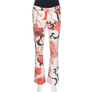 Just Cavalli Red Floral Print Cotton Flared Jeans M