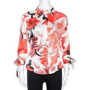Just Cavalli Red Floral Shimmer Print Silk Satin Blouse M