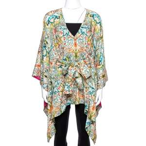 Just Cavalli Multicolor Floral Print Belted Kaftan Top S