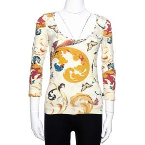 Just Cavalli Cream Butterfly Print Jersey Long Sleeves Top S