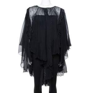 Just Cavalli Black Chiffon Stud Embellished Ruffled Blouse M