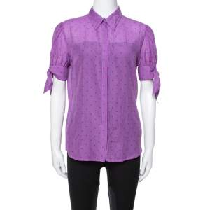Just Cavalli Purple Cotton & Silk Button Front Blouse L