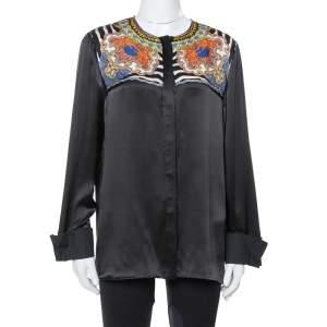 Just Cavalli Black Silk Printed Yoke Detail Long Sleeve Top M