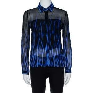 Just Cavalli Black/Blue Ombre Silk Long Sleeve Shirt M