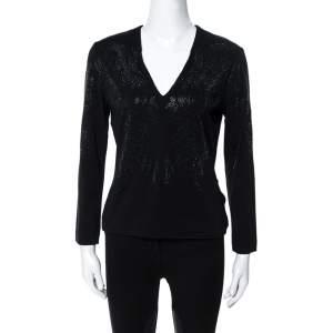 Just Cavalli Black Crystal Embellished Long Sleeve Top L