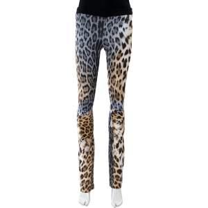 Just Cavalli Animal Print Cotton Flared Leg Trouser S