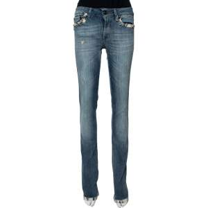 Just Cavalli Light Wash Denim Lace Trim Detail Straight Fit Jeans S
