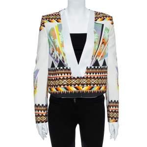 Just Cavalli Multicolor Abstract Nylon Blend Print Crop Top Blazer S