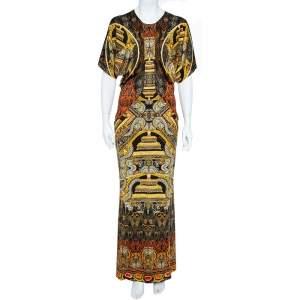 Just Cavalli Black & Gold Knit Oriental Print Maxi Dress M