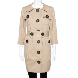 Just Cavalli Beige Cotton Twill Belted Military Coat M