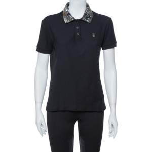 Just Cavalli Black Cotton Sequin Embellished Collar Detail Polo T Shirt M