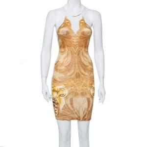 Just Cavalli Yellow Printed Jersey Sleeveless Dress S