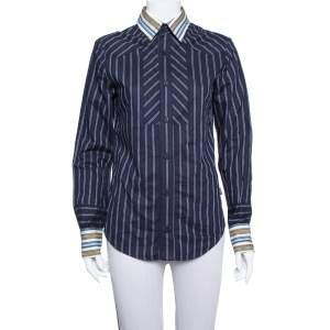 Just Cavalli Navy Blue Cotton Contrast Detail Button Front Shirt XS