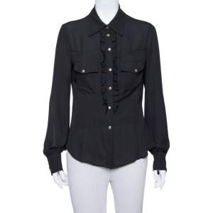 Just Cavalli Black Crepe Ruffle Detail Button Front Shirt L