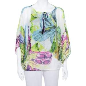Just Cavalli White Sheer Butterfly Print Oversized Top S