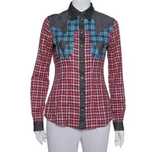 Just Cavalli Red & Black Contrast Patch Pocket & Collar Detail Shirt S