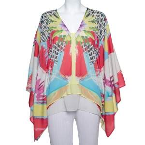 Just Cavalli Multicolor Printed Chiffon Kaftan Top L