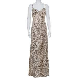 فستان ماكسي جست كافالي ساتان نقشة الفهد بيج مطبوع شبكة مزينة مقاس كبير - لارج