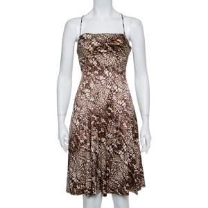 فستان جاست كافالي مكسم وفضفاض ساتان طباعة حيوان بني مقاس متوسط