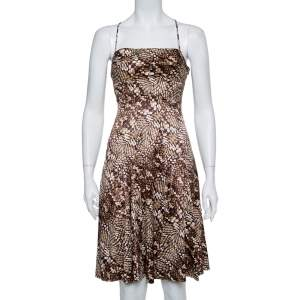 Just Cavalli Brown Animal Printed Satin Fit & Flare Dress M