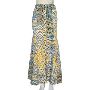 Just Cavalli Multicolor Denim Flared Maxi Skirt S