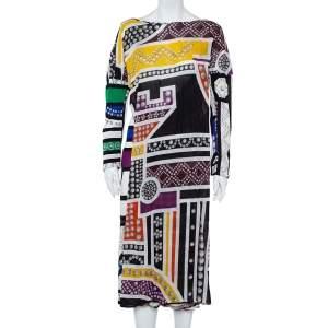 فستان جست كافالي تريكو مطبوع متعدد الألوان مقاس وسط (ميديوم)