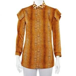 قميص جست كافالي أزرار أمامية ساتان مطبوع نقشة الفهد برتقالي مقاس صغير (سمول)