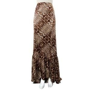 Just Cavalli Brown Snake Print Silk Satin Flared Asymmetrical Hem Maxi Skirt L