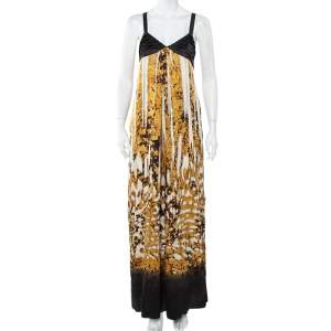 Just Cavalli Black & Gold Printed Silk Glittered Open Back Maxi Dress M