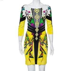 فستان جست كافالي ضيق تريكو مطبوع متعدد الألوان مقاس وسط (ميديوم)