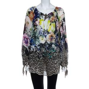 Just Cavalli Multicolor Floral & Animal Printed Silk Tunic M