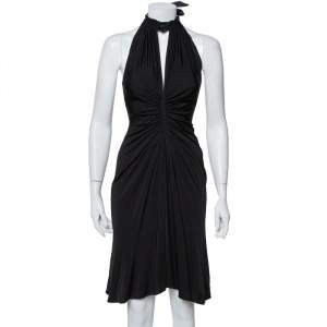 Just Cavalli Black Knit Halter Neck Flared Mini Dress S