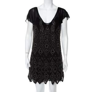 Just Cavalli Black Chiffon Stone Embellished Shift Dress S