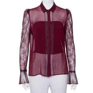 Just Cavalli Burgundy Silk Lace Detail Button Front Shirt M